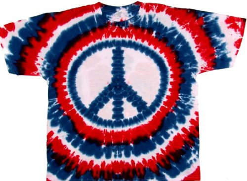 Tie Dyed Shop Peace Sign Tie Dye T Shirt-Patriotic Red White Blue -Shortsleeve-2X-Multicolored