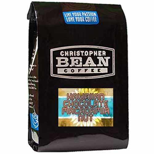 Christopher Bean Coffee Decaffeinated Whole Bean Flavored Coffee, Hawaiian Chocolate Macadamia Nut, 12 Ounce