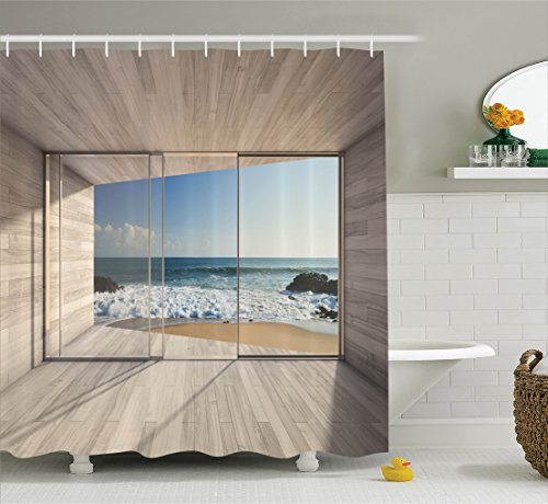 Beach Shower Curtain set House Decor by Ambesonne, Modern Lounge Area with Large Window and View Of Sea Waves Rocks, Bathroom Accessories, with Hooks, 69W X 70L Inches (Curtains Beach House)