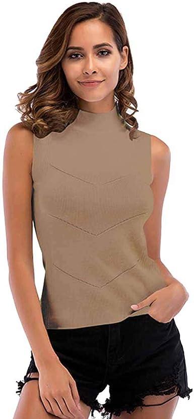 JLTPH Las Mujeres Sin Mangas De Punto Chaleco Top Cuello Alto Suéter Camisa Jersey Tops Blusa Color Sólido: Amazon.es: Ropa y accesorios