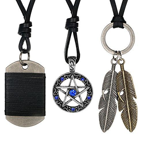 Aroncent Collar Ajustable con Colgante de Estrella con Diamantes Artificiales Azules Placa de Perro Pluma de Ángel Retro...