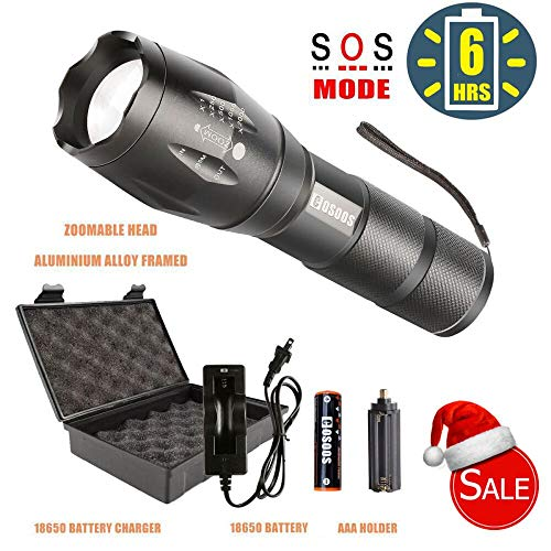 LED Tactical Flashlight Kit with Rechargeable Battery, COSOOS Bright 1000-Lumen Flashlight,Zoomable Waterproof Torch Lamp,5 Modes,Bright Portable Light for Camping,Reading,Hiking,Support AAA Battery