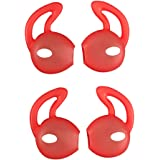 EKIND 2 Pairs Silicone Cover Earphone and Ear Hook for Apple AirPods EarPods (Red)