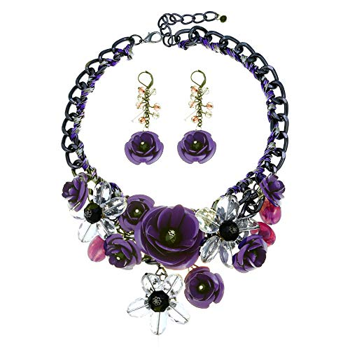 (HoBST Floral Flower Statement Necklace and Earring Set Choker Chunky Gold Plated Chain Pendant Jewelry (Purple) )