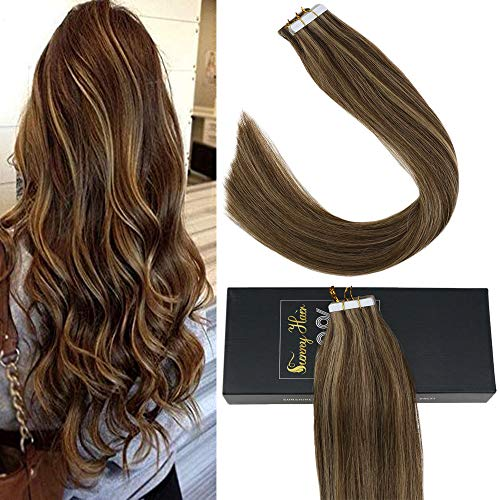 Sunny Tape In Hair Extensions Highlighted 14 inch Glue in Hair Extensions Human Hair Dark Brown and Strawberry Blonde Remy Hair Extensions Tape in Hair 20 pcs/50g
