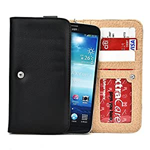 Coal Black Smartphone Wallet with Credit Card Slots and Wrist Strap for Plum Might