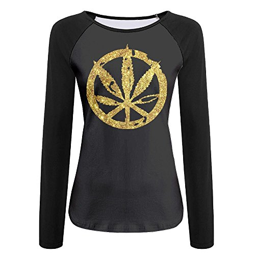 Fudsa Cannabis Leaf Metal Peace Sign Women's Fit Raglan Crew Neck Long Sleeve T Shirt Baseball Tee S