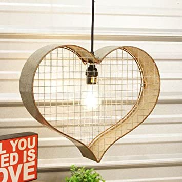 VIP Home And Garden Metal Heart Light Fixture, Gray