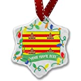 Personalized Name Christmas Ornament, Ibiza Flag region: Spain NEONBLOND