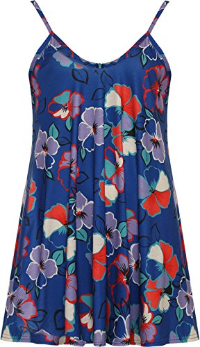 Funky Fashion Shop - Falda - Sin mangas - para mujer Floral Azul