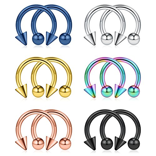 (Ruifan 12PCS Assorted Colors Surgical Steel CBR Nose PA Septum Horseshoe Earring Eyebrow Tongue Lip Piercing Ring with 4mm Balls & Spikes 12G 10mm)