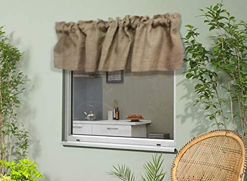 Amazon Com Km Curtains 100 Jute Burlap Window Valance In Color Natural Size 72 Inch By 16 Inch Made From 100 Natural Jute 1 Header 2 Rod Pocket Home Kitchen