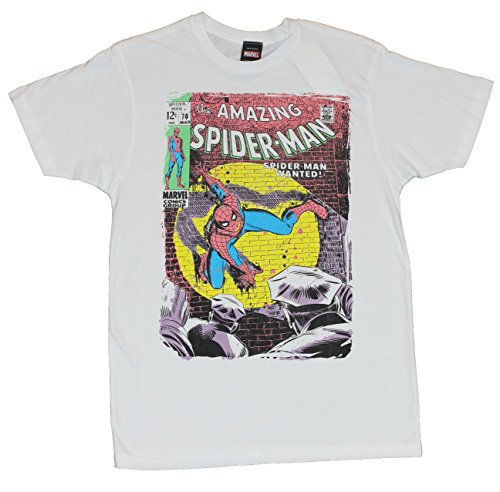 "Spider-man (The Amazing Spiderman of Marvel Comics) Mens T-Shirt - The Amazing Spider-Man ""Wanted"" Issue 70 Image Distressed on White (Small)"