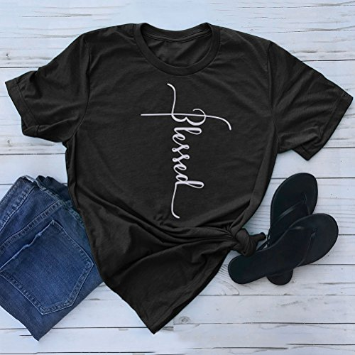 SCX Women Cross Faith Printed Tees Letter Print T-Shirt Summer Grey Tees (S, Blessed_Black) by SCX (Image #1)