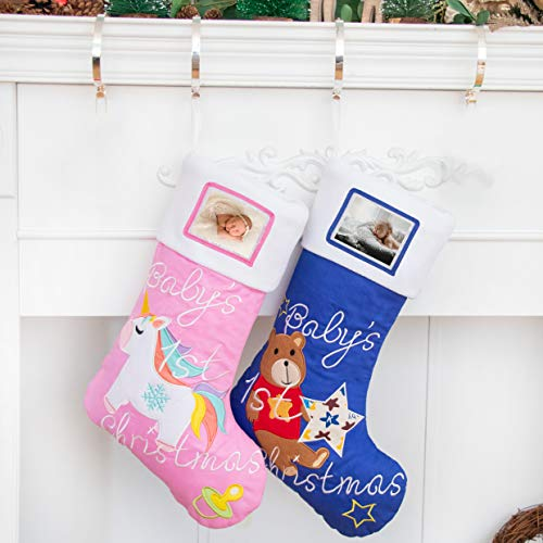 BHD BEAUTY 2019 Baby Boy's 1st Christmas Stockings with Photo Frame Personalized Baby's Picture 21 inches Blue Bear (1 Pack) (Holder Stocking Frame)