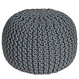 UK Large 100% Cotton Chunky Knitted Round Pouffe Foot Stool Ottoman