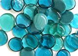 Large Glass Gems, 4.75 Lb. Bag, Teal and Turquoise, 35-38mm