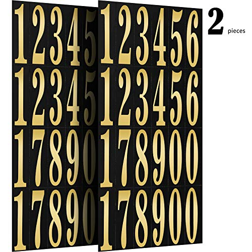 Numbers Stickers Self Adhesive Vinyl Numbers in 0-9 Printing and Hot Stamping for DIY Crafts Party Decoration, 11.9 x 5.4 inch (2 Pieces) ()