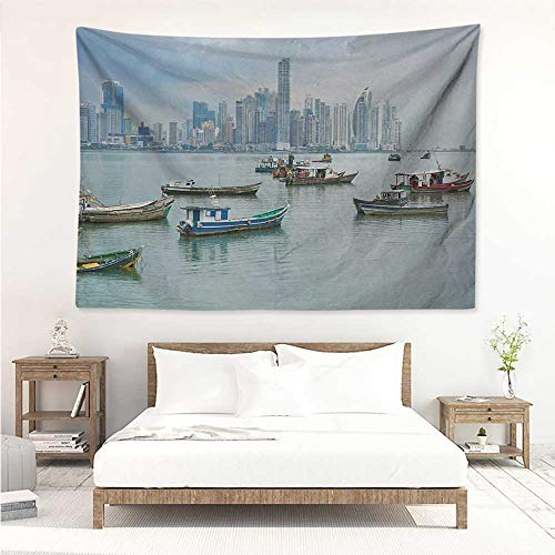 Landscape,Tapestry Anchored Fishing Boats Skyscrapers Panama Cityscape Pacific Coast Central America 60W x 51L inch Home Decor Bedroom Living Room Multicolor