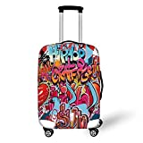 Travel Luggage Cover Suitcase Protector,Graphic Decor,Hip Hop Street Culture Harlem New York Wall Graffiti Spray Artwork Image,Multicolor,for Travel