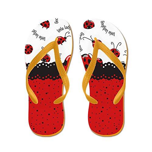 Cafepress Ladybugs Dotty World - Chanclas, Sandalias Thong Divertidas, Sandalias De Playa Naranja
