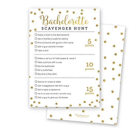 24 Cnt Bachelorette Scavenger Hunt Game (Faux Gold Glitter Foil on WHITE) ()