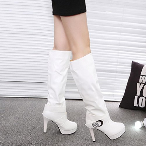 Warm Boots Shoes YJYdada High Ankle White Faux Women Boots Heels Ladies Martin Buckle Belt q8wpX8S