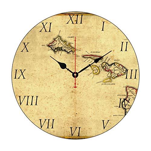 Moonluna Vintage 1837 Hawaii Map Hawaiian Islands Funny Wall Clocks Decorative for Living Room Kitchen Home Decor Wooden Clock 12 Inches ()