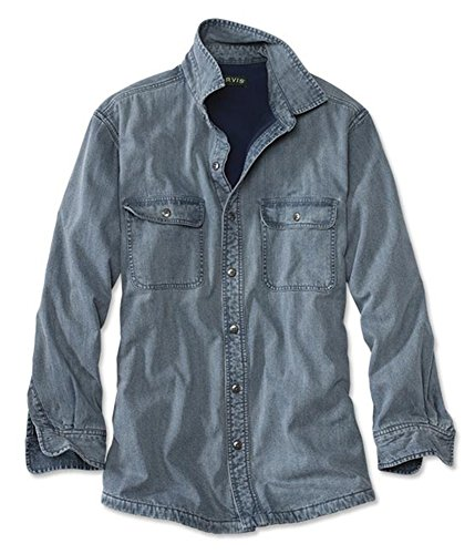 Orvis Men's Lined Teton Denim Shirt, - Shirt Fleece Over