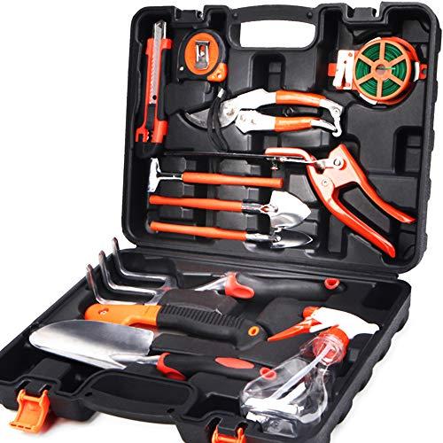 Scuddles Garden Tools Set – 12 Piece Heavy Duty Gardening Tools with Storage Organizer, Ergonomic Hand Digging Weeder, Rake, Shovel, Trowel, Sprayer, Gloves Gift for Men & Women