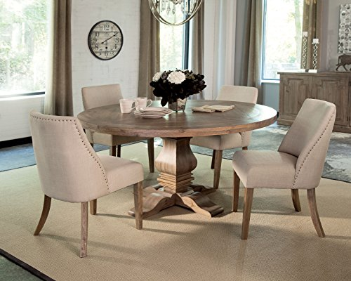 Table Chairs Pine - Florence Round Pedestal Dining Table Rustic Smoke