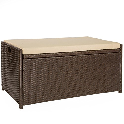 Victoria Young Resin Wicker Deck Box Storage Bench Container with Seat and Cushion Indoor and Outdoor Use, 60 Gallon, Espresso Brown (Patio Storage Cushion Container)
