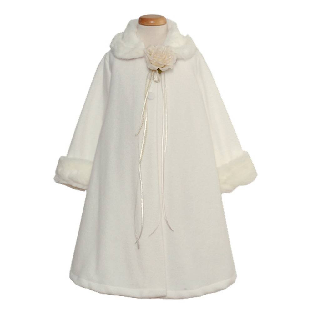Kids Dream Ivory Fleece Faux Fur Collar Cuff Girls Size 2-12
