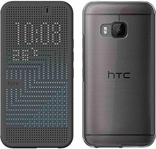 Genuine HTC Dot View Ice Premium Flip Case Cover for HTC One M9 (HC M232) - Onyx Black