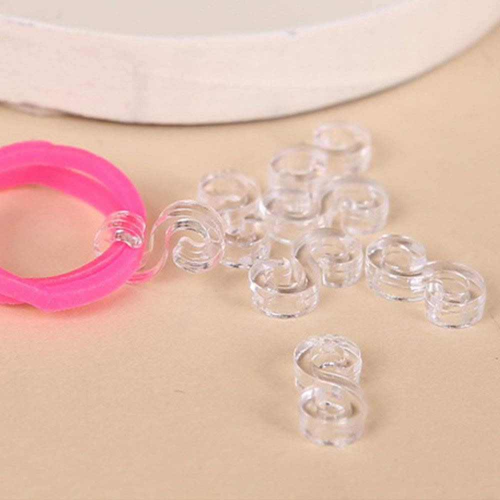 Topus 480 Pcs S Clear Clip for Loom Rubber Band for DIY Bracelet Necklace Making Refill Kit S Clips Connectors Refills