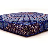 Indian Mandala Floor Pillow Square Ottoman Pouf Daybed Oversized Cushion Cover Cotton Seating Ottoman Poufs Dog / Pets Bed Sold By Handcraftspalace