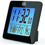 MARATHON CL030050BK Digital Desktop Clock with Day, Date, Temperature, Alarm and Backlight. Black - Batteries Included
