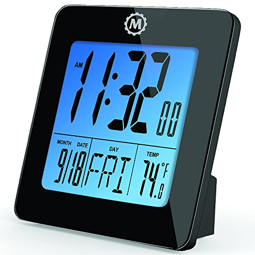 MARATHON CL030050BK Digital Desktop Clock with Day, Date, Temperature, Alarm and Backlight. Black - Batteries