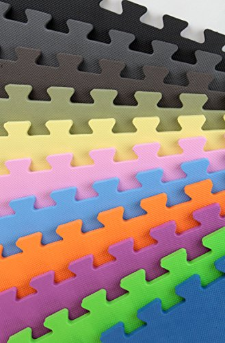 IncStores Premium Interlocking Foam Tiles (Grey, 9 Tiles) - Ideal for p90x, Insanity, pilates, yoga, other aerobic/cardio work outs, and kids playrooms