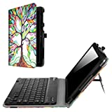 Fintie AT&T Primetime Keyboard Case - Premium PU Leather Folio Cover with Removable Wireless Bluetooth Keyboard for 2017 10 Inch ATT Primetime/ZTE K92 Primetime 4G LTE Tablet, Love Tree