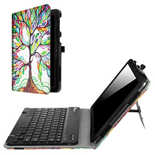 Fintie Folio Keyboard Case for AT&T Primetime - Premium PU Leather Protective Cover with Removable Wireless Bluetooth Keyboard for 2017 10 inch ATT/ZTE K92 Primetime 4G LTE Tablet, Love Tree