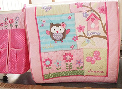 NAUGHTYBOSS Girl Baby Bedding Set Cotton 3D Embroidery Owl Bird Quilt Bumper Bedskirt Fitted Urine bag 8 Pieces Set Pink Color by NAUGHTYBOSS (Image #3)