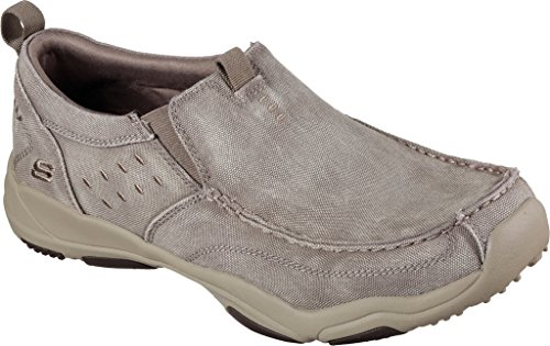 Skechers Larson Bulloni Signore Slip On Slipper Grau Textile Taupe