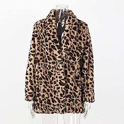 XIANIWTA Women's Winter Long Sleeve Coat Faux Fur Overcoat Plus Size Fluffy Top Jacket Leopard at Women's Coats Shop