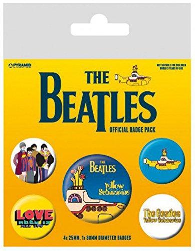 1art1 Set: The Beatles, Yellow Submarine, 1 X 38mm & 4 X 25mm Badge Set di Badge (15x10 cm) E 1 Sticker Sorpresa 1art1®