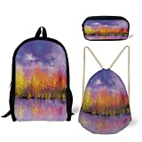 Best River's Edge Products String Lights - Schoolbag,Pencil Box,Drawstring Bag,Backpacks,3D Print,Paint Shady Fall Trees River Review