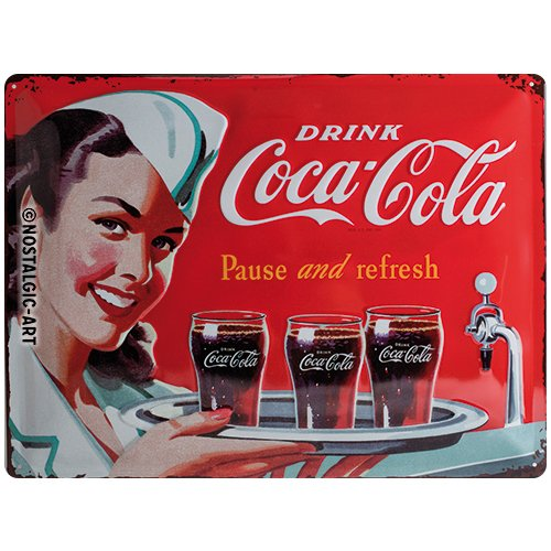 Nostalgic-Art Coca Cola Waitress Placa Decorativa, Metal, Rojo, 30 x 40 cm