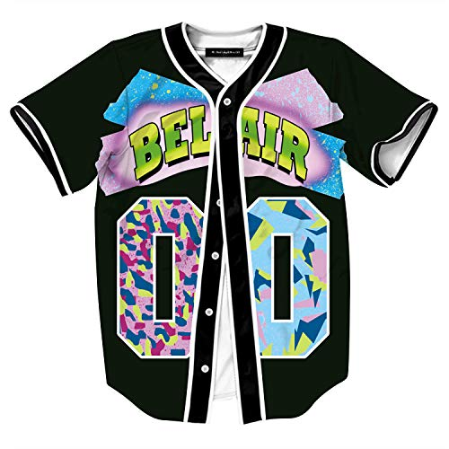 HOP FASHION Youth Unisex Boys Girl Baseball Jersey Short Sleeve Button Down Shirts 90s Theme Party 3D Number 00