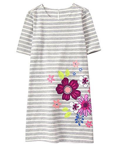 Gymboree Girls' Little' Printed Shift Dress, Stripe Flowers, S