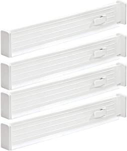 mDesign Adjustable, Expandable Drawer Organizer/Divider - Foam Ends, Strong Secure Hold, Locks in Place - for Bedroom, Bathroom, Closet, Office, Kitchen Storage - 2.5 Inches High, 4 Pack - White